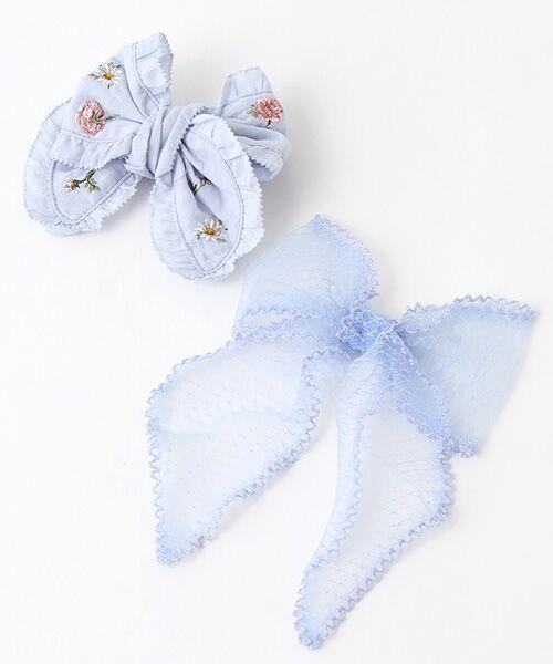 PINK HOUSE/ピンクハウス 花刺繍&チュチュチュールリボンブローチ2個セット アクアマリン F