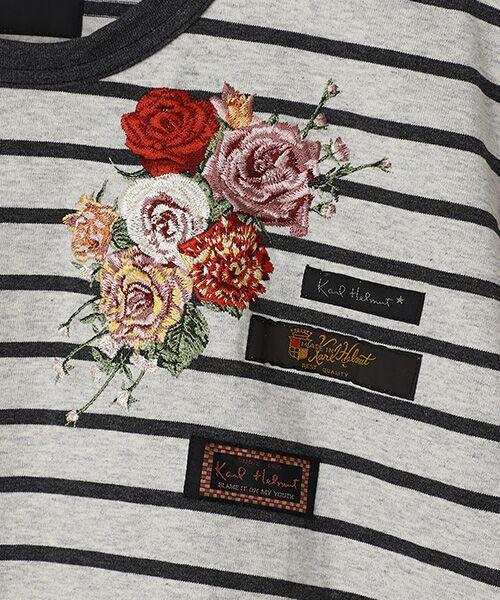 PINK HOUSE / ピンクハウス Tシャツ | エンジェルローズ刺繍ボーダーTシャツ | 詳細1