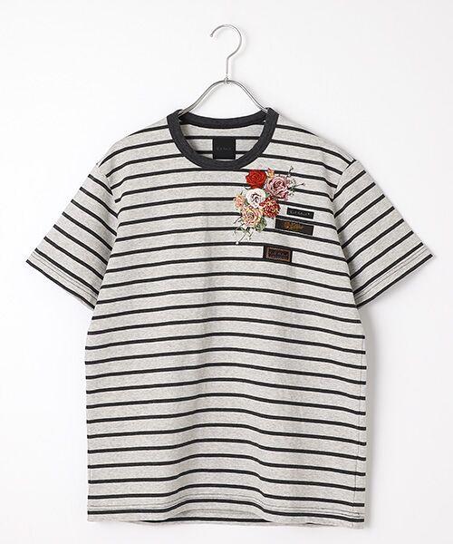 PINK HOUSE / ピンクハウス Tシャツ | エンジェルローズ刺繍ボーダーTシャツ(グレー×クロ)