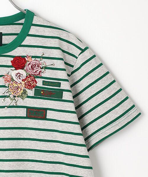 PINK HOUSE / ピンクハウス Tシャツ | エンジェルローズ刺繍ボーダーTシャツ | 詳細3