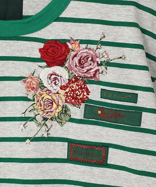 PINK HOUSE / ピンクハウス Tシャツ | エンジェルローズ刺繍ボーダーTシャツ | 詳細5