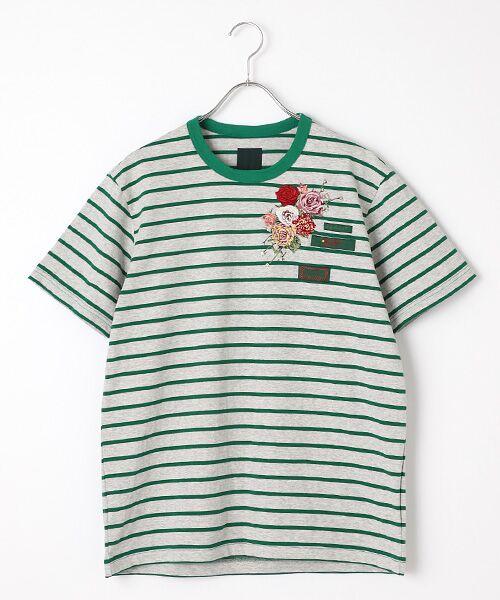 PINK HOUSE / ピンクハウス Tシャツ | エンジェルローズ刺繍ボーダーTシャツ(グレー×グリーン)