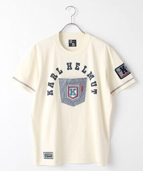 PINK HOUSE / ピンクハウス Tシャツ | ヒッコリーワッペン付きロゴTシャツ(キナリ)