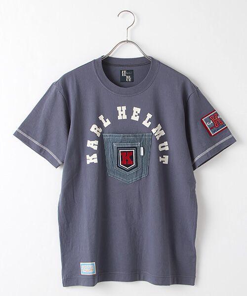 PINK HOUSE / ピンクハウス Tシャツ | ヒッコリーワッペン付きロゴTシャツ(ブルーベリー)