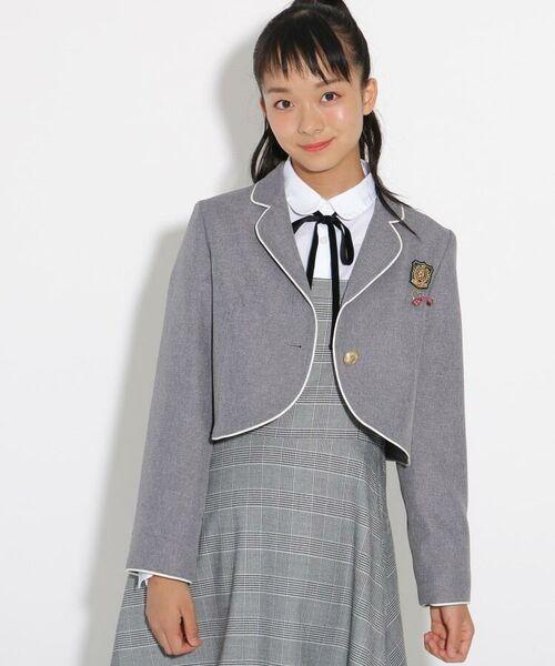 PINK-latte / ピンク ラテ テーラードジャケット   【卒服】パイピンクボレロジャケット(グレー(012))