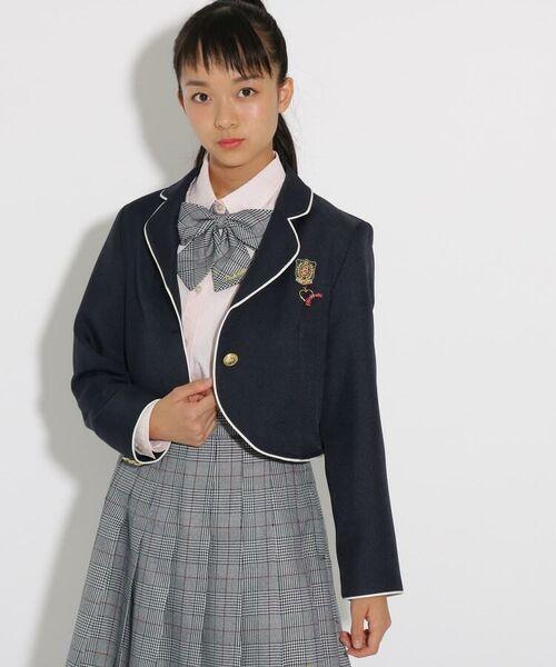 PINK-latte / ピンク ラテ テーラードジャケット   【卒服】パイピンクボレロジャケット(ネイビー(093))
