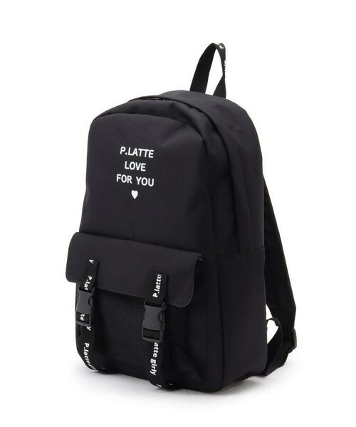 PINK-latte/ピンク ラテ メッシュポケット付きロゴプリントリュック ブラック(019) 00