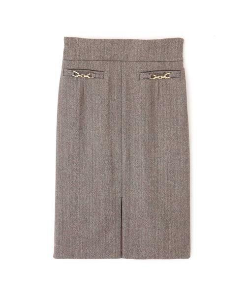 PINKY & DIANNE / ピンキーアンドダイアン スカート | ◆ウールヘリンボーンビットアクセントスカート | 詳細1