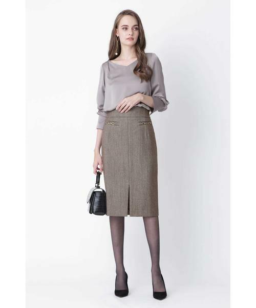 PINKY & DIANNE / ピンキーアンドダイアン スカート | ◆ウールヘリンボーンビットアクセントスカート | 詳細2