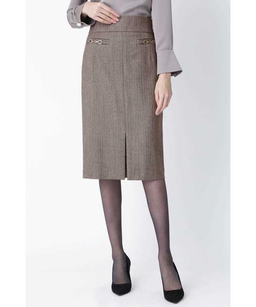 PINKY & DIANNE / ピンキーアンドダイアン スカート | ◆ウールヘリンボーンビットアクセントスカート(ヘリンボーン1)