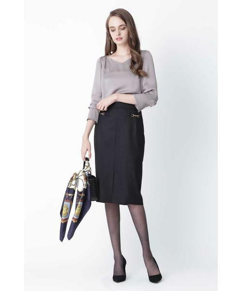 PINKY & DIANNE / ピンキーアンドダイアン スカート | ◆ウールヘリンボーンビットアクセントスカート | 詳細6