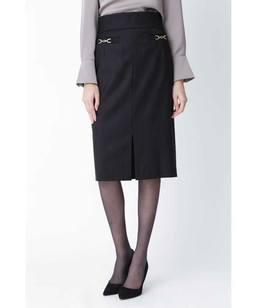 PINKY & DIANNE / ピンキーアンドダイアン スカート | ◆ウールヘリンボーンビットアクセントスカート(ブラック)
