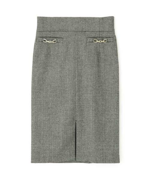 PINKY & DIANNE / ピンキーアンドダイアン スカート | ◆ウールヘリンボーンビットアクセントスカート | 詳細9