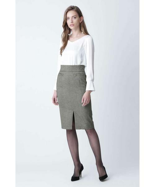 PINKY & DIANNE / ピンキーアンドダイアン スカート | ◆ウールヘリンボーンビットアクセントスカート | 詳細10