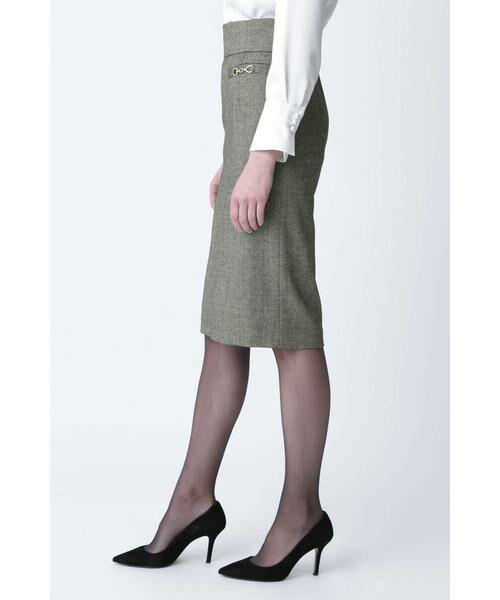 PINKY & DIANNE / ピンキーアンドダイアン スカート | ◆ウールヘリンボーンビットアクセントスカート | 詳細11