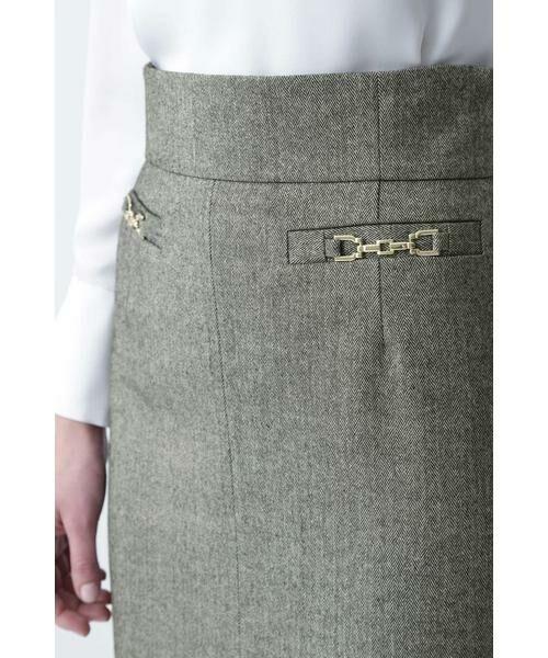 PINKY & DIANNE / ピンキーアンドダイアン スカート | ◆ウールヘリンボーンビットアクセントスカート | 詳細13
