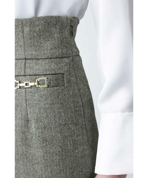 PINKY & DIANNE / ピンキーアンドダイアン スカート | ◆ウールヘリンボーンビットアクセントスカート | 詳細14