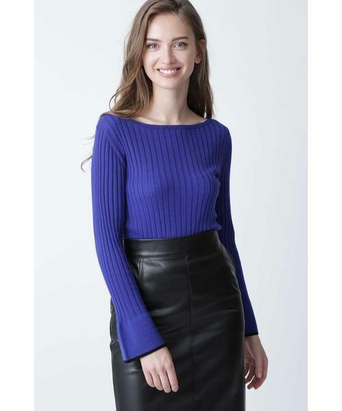 PINKY & DIANNE / ピンキーアンドダイアン ニット・セーター | ◆フレアスリーブニットプルオーバー(ブルー)