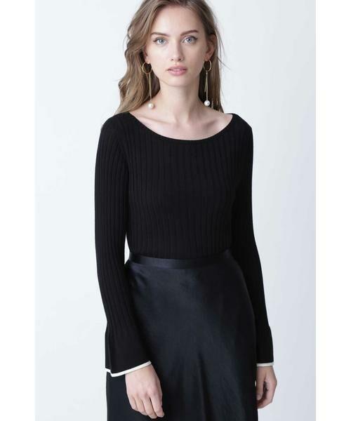 PINKY & DIANNE / ピンキーアンドダイアン ニット・セーター | ◆フレアスリーブニットプルオーバー(ブラック)