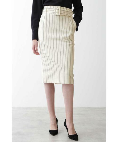 PINKY & DIANNE / ピンキーアンドダイアン スカート | [ウォッシャブル]ストライプペンシルスカート(ホワイト1)