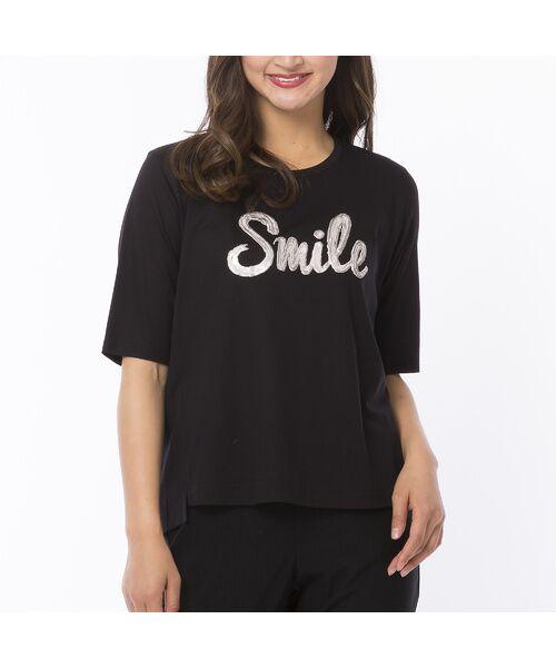 PISANO / ピサーノ カットソー | スマイルロゴ・プリントTシャツ(ブラック)