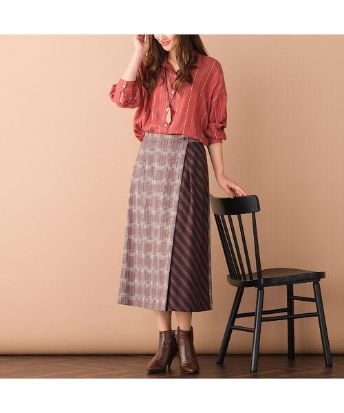 PISANO / ピサーノ ミニ・ひざ丈スカート   [大きいサイズ/L-LL]チェック×ストライプラップ風スカート/ブラウン   詳細1