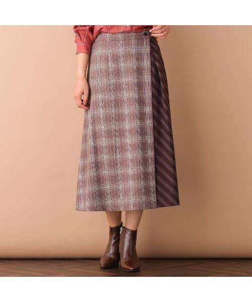 PISANO / ピサーノ ミニ・ひざ丈スカート   [大きいサイズ/L-LL]チェック×ストライプラップ風スカート/ブラウン   詳細2