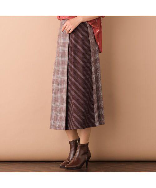 PISANO / ピサーノ ミニ・ひざ丈スカート   [大きいサイズ/L-LL]チェック×ストライプラップ風スカート/ブラウン   詳細3