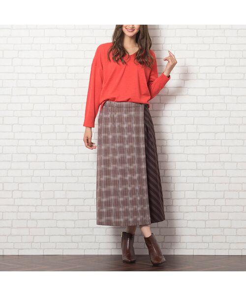 PISANO / ピサーノ ミニ・ひざ丈スカート   [大きいサイズ/L-LL]チェック×ストライプラップ風スカート/ブラウン   詳細4