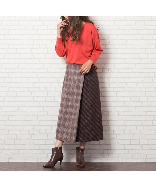 PISANO / ピサーノ ミニ・ひざ丈スカート   [大きいサイズ/L-LL]チェック×ストライプラップ風スカート/ブラウン   詳細5