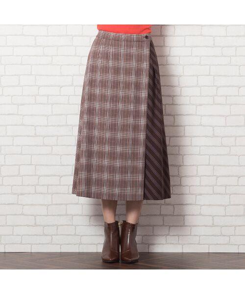 PISANO / ピサーノ ミニ・ひざ丈スカート   [大きいサイズ/L-LL]チェック×ストライプラップ風スカート/ブラウン   詳細6