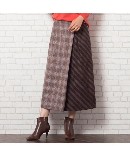 PISANO / ピサーノ ミニ・ひざ丈スカート   [大きいサイズ/L-LL]チェック×ストライプラップ風スカート/ブラウン   詳細7