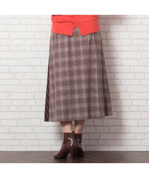 PISANO / ピサーノ ミニ・ひざ丈スカート   [大きいサイズ/L-LL]チェック×ストライプラップ風スカート/ブラウン   詳細8