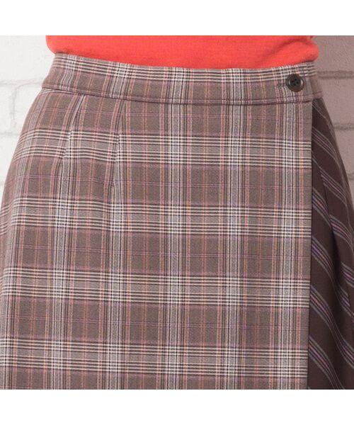 PISANO / ピサーノ ミニ・ひざ丈スカート   [大きいサイズ/L-LL]チェック×ストライプラップ風スカート/ブラウン   詳細9