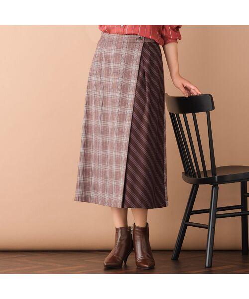 PISANO / ピサーノ ミニ・ひざ丈スカート   [大きいサイズ/L-LL]チェック×ストライプラップ風スカート/ブラウン(ブラウン)