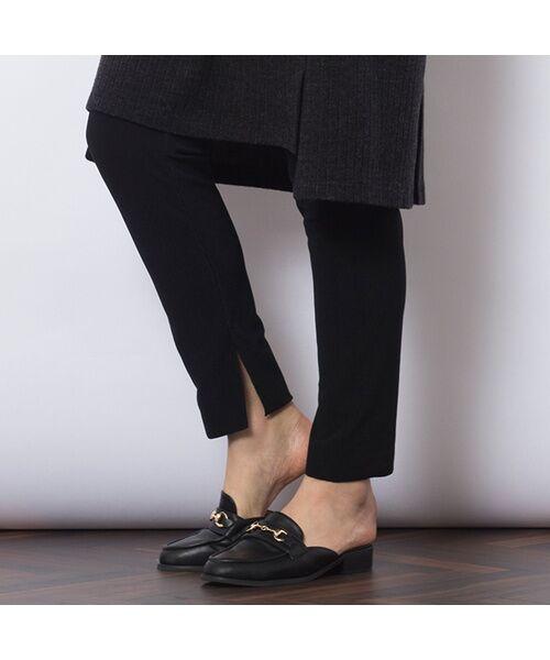 PISANO / ピサーノ その他パンツ | [大きいサイズ/L-LL]サイドスリットリブレギンスパンツ・微起毛(ブラック)