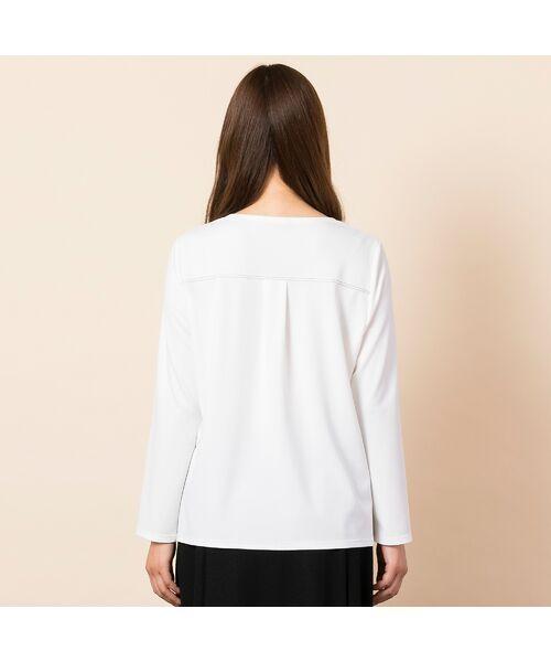 PISANO / ピサーノ カットソー | [大きいサイズ/L-LL]配色ステッチデザインブラウス風Tシャツ | 詳細4