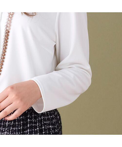 PISANO / ピサーノ カットソー | [大きいサイズ/L-LL]配色ステッチデザインブラウス風Tシャツ | 詳細6