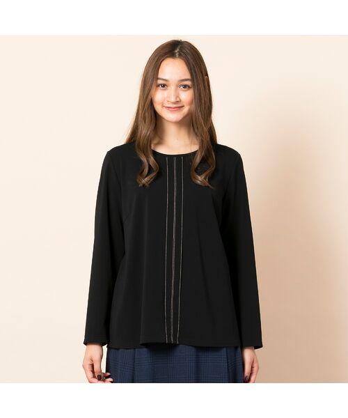 PISANO / ピサーノ カットソー | [大きいサイズ/L-LL]配色ステッチデザインブラウス風Tシャツ | 詳細7