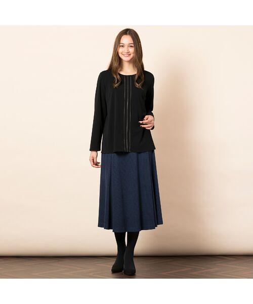 PISANO / ピサーノ カットソー | [大きいサイズ/L-LL]配色ステッチデザインブラウス風Tシャツ | 詳細8