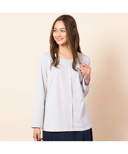 PISANO / ピサーノ カットソー | [大きいサイズ/L-LL]配色ステッチデザインブラウス風Tシャツ(ライトグレー)