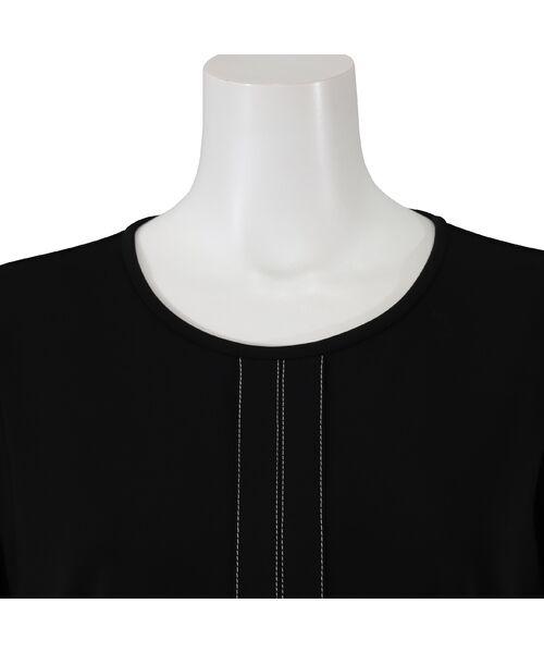 PISANO / ピサーノ カットソー | [大きいサイズ/L-LL]配色ステッチデザインブラウス風Tシャツ | 詳細11