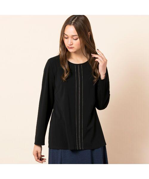 PISANO / ピサーノ カットソー | [大きいサイズ/L-LL]配色ステッチデザインブラウス風Tシャツ(ブラック)