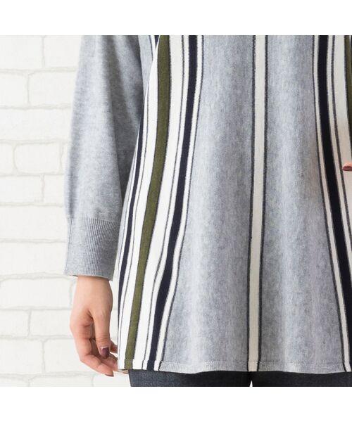 PISANO / ピサーノ ニット・セーター | ストライプフレアラインニットプルオーバー | 詳細3