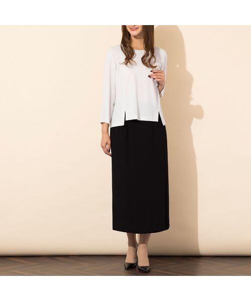 PISANO / ピサーノ ミニ・ひざ丈スカート | [大きいサイズ/L-3L]バックサテンラップ風タイトスカート[セットアップ対応] | 詳細3