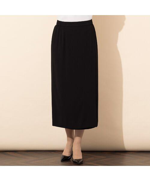 PISANO / ピサーノ ミニ・ひざ丈スカート | [大きいサイズ/L-3L]バックサテンラップ風タイトスカート[セットアップ対応](ブラック)