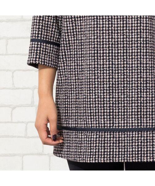 PISANO / ピサーノ カットソー | 【大きいサイズ/人気のため追加生産】ミニ千鳥プリントロングTシャツ | 詳細5