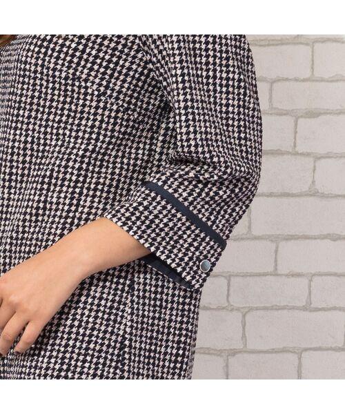 PISANO / ピサーノ カットソー | 【大きいサイズ/人気のため追加生産】ミニ千鳥プリントロングTシャツ | 詳細6