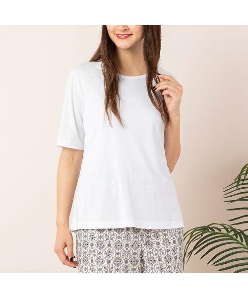 PISANO / ピサーノ カットソー | エコイト天竺・クルーネックTシャツ(ホワイト)