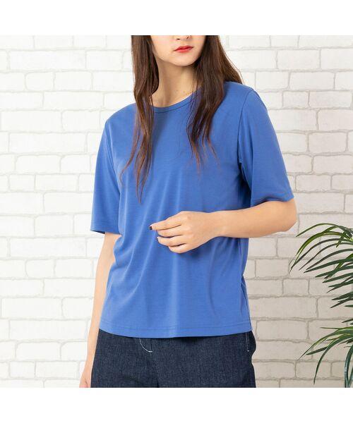 PISANO / ピサーノ カットソー | エコイト天竺・クルーネックTシャツ(ブルー)
